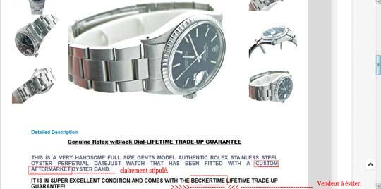 exemple annonce avec bracelet non original.