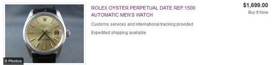 Rolex Datejust sans bracelet 1699 usd