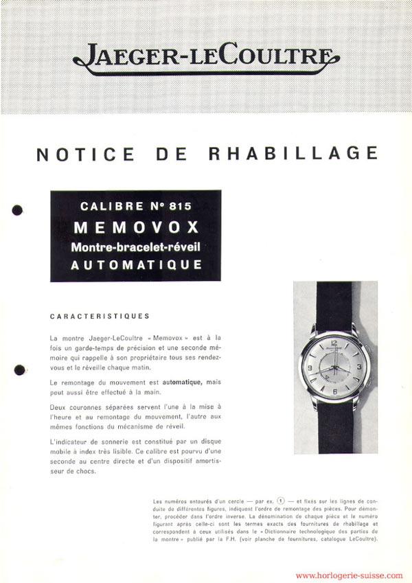 Notice de rhabillage jaeger memovox