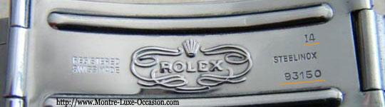 Code sur le fermoir du bracelet Rolex.